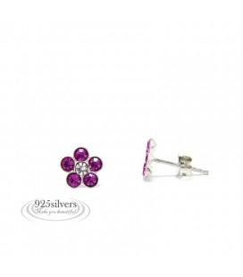 925 ezüst, Swarovski kristályos, pink virág fülbevaló