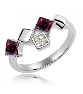 Négyzet alakú kristály gyűrű - Sötét Pink