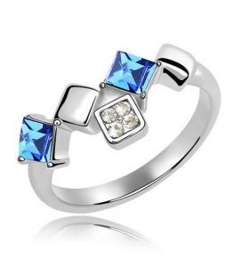 Négyzet alakú kristály gyűrű - Tengerkék