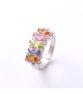 Koktél gyűrű színes zircon kristályokkal
