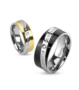 Feliratos női karikagyűrű nemesacélból
