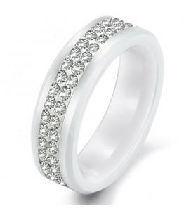 Zircon köves fekete, kerámia gyűrű - női