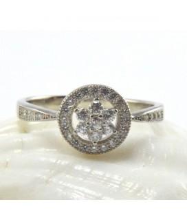 Jégvirág, elegáns gyűrű ezüstből - kör