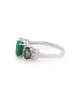 925 ezüst gyűrű rubinnal és opál kővel