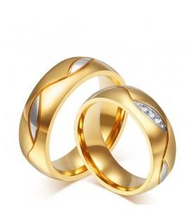 Arany bevonatú női gyűrű nemesacélból