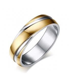 Bordázott női gyűrű nemesacélból, arany bevonattal