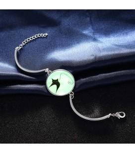 Foszforeszkáló karkötő ezüst bevonattal - Fekete cicus