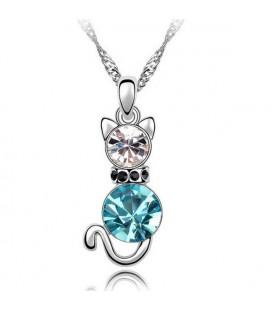 Kék kristályos cica nyaklánc
