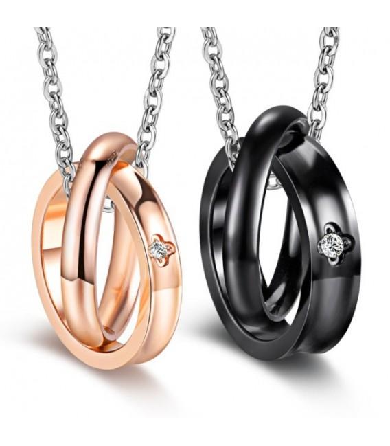 Páros medál nemesacélból, nyaklánccal - dupla gyűrűk cirkónia kővel