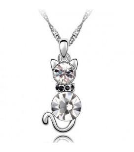 Fehér kristályos cica nyaklánc