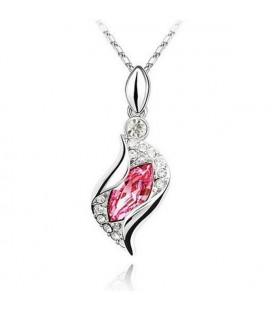 Rózsaszín kristályos csavart nyaklánc