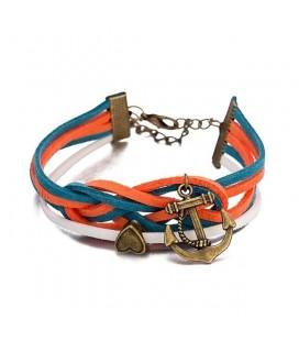 Réteges műbőr karkötő - Anchor