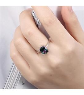 Ovális szivárvány köves, fehérarany bevonatú gyűrű - Mystic