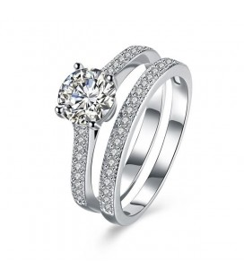 925 sterling ezüst, cirkónia köves dupla gyűrű