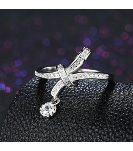 925 sterling ezüst gyűrű hófehér cirkóniával - Masni