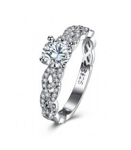 925 sterling ezüst, fonott eljegyzési gyűrű hófehér cirkónia kövekkel