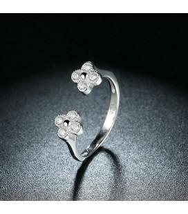 Kristályos virágok, állítható 925 sterling ezüst gyűrű cirkóniával
