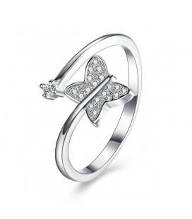 Kristályos pillangó, 925 sterling ezüst állítható gyűrű cirkóniával