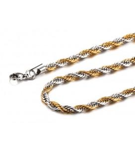 Csavart szemes nemesacél nyaklánc arany-ezüst színben