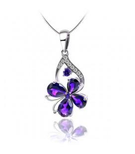 Ezüst pillangó medál lila kristályokkal