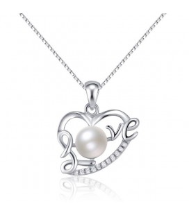 Love, gyöngyös szív medál ezüstből