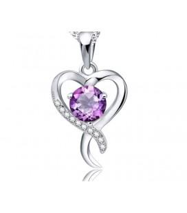 Lila kristályos ezüst szív medál
