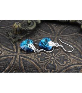 Swarovski kristályos ezüst szív fülbevaló