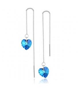 Hosszú láncos, Swarovski kristályos ezüst szív fülbevaló