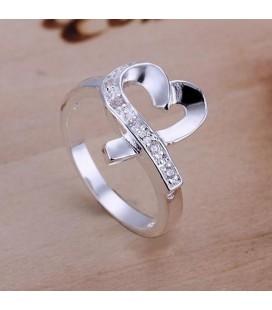 Apró CZ kristályos szív gyűrű