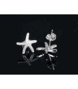 Kristályos tengeri csillag fülbevaló, ródium bevonattal
