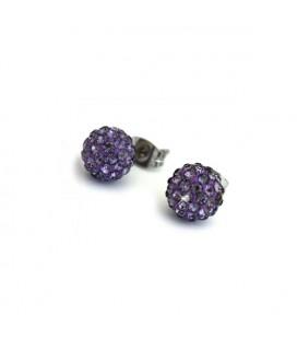 Shamballa fülbevaló lila kristályokkal