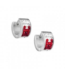Piros kristályos, színátmenetes nemesacél karika fülbevaló