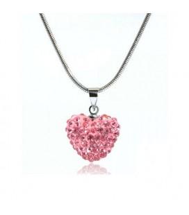 Rózsaszín kristályos szív shamballa nyaklánc