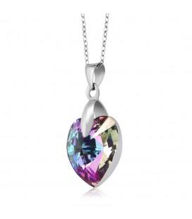 Swarovski kristályos szív medál nemesacél lánccal - vitrail 9 mm