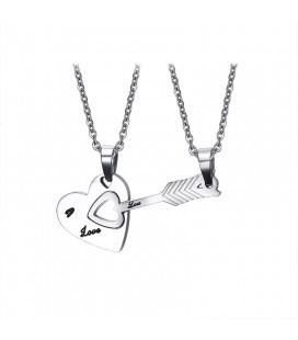 Szív + nyíl, összeilleszthető páros medál szett nemesacélból, nyaklánccal