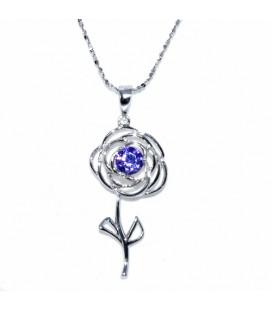 Rózsa ezüst medál nyaklánccal, lila cirkóniával