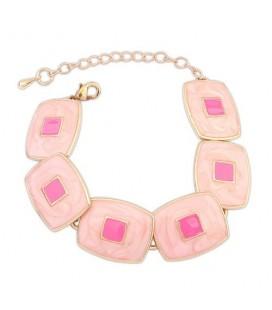 Geometrikus bizsu karkötő - Pink