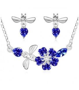 Kék kristályos virágfüzér ékszerszett