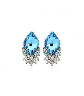 Kék Swarovski kristályos kristálylevél ékszerszett