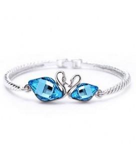 Kék kristályos szerelmes hattyúk karkötő