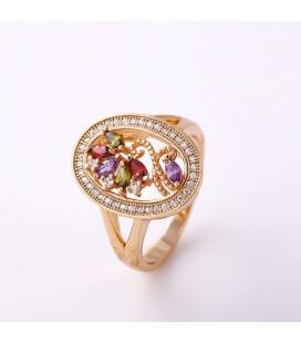Ragyogó zircon virág gyűrű - Színes