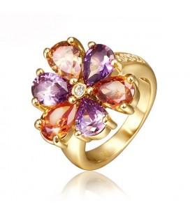 18 K aranyozott, színes cirkónia köves virág gyűrű
