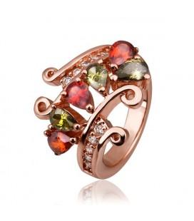 Csepp kristályos rózsaarany koktél gyűrű