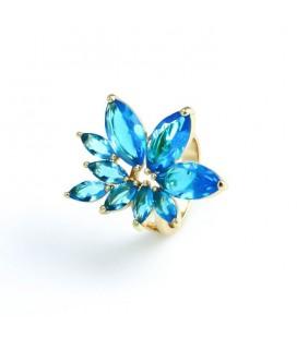Kristályvirág koktél gyűrű - Kék