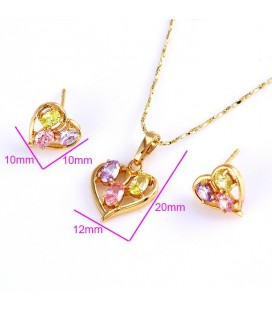 Szív alakú, gold filled ékszerszett, színes zircon kövekkel