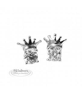 925 ezüst fülbevaló cirkóniával - korona