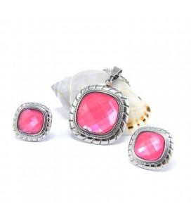 Rózsaszín, négyzetes ékszerszett nemesacélból