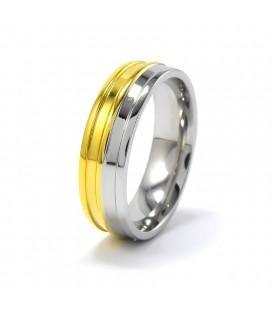 nemesacél gyűrű, Arany-ezüst színű, bordás nemesacél gyűrű
