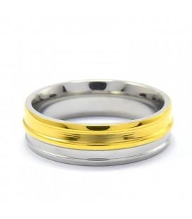 ékszer webshop Arany-ezüst színű, bordás nemesacél gyűrű