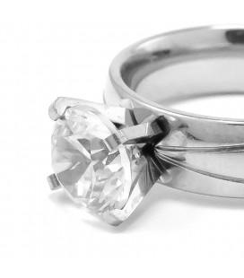 ékszer webshop Nemesacél gyűrű, csillogó fehér cirkónia kővel